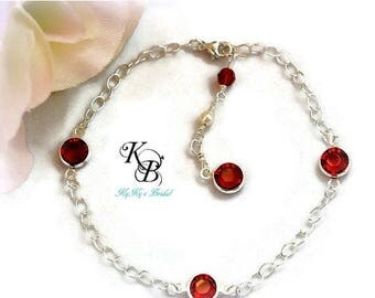 Sterling Silver Bracelet, Birthstone Bracelet, Bridal Jewelry, Wedding Jewelry, Bridesmaid Jewelry, Bridesmaid Gift, Mothers Jewelry
