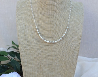 Silver Beaded Necklace.     Summer Necklace