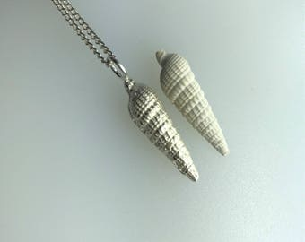 Silver Auger Shell Pendant, Sand Cast, with a Sterling Silver Curb Chain