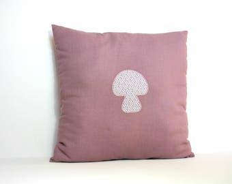 Cushion square design purple mushroom