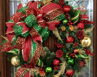 Red Green and Gold Christmas Wreath - 24 inches