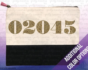 Zip Code Hometown Pride Two Tone Makeup/Travel Cosmetic Bag with Black Canvas Trim -  Black, Silver or Gold Glitter