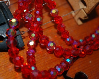 set of 10 beads 6mm red ab faceted round