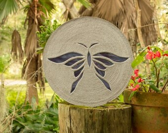 "Iridized Purple Butterfly Stepping Stone 18"" Round Made of Concrete and Stained Glass Perfect for Your Garden Patio Backyard Pool Path #771"