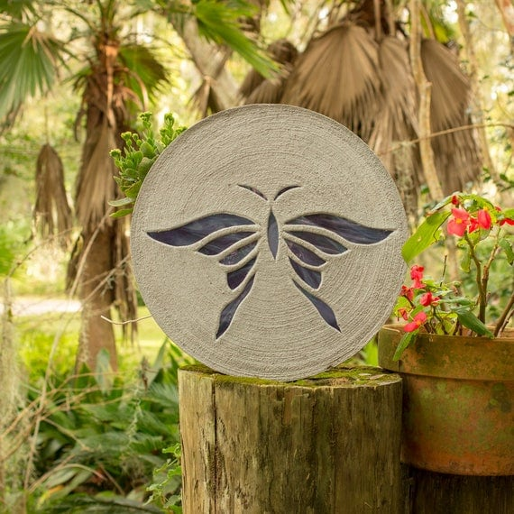"""Iridized Purple Butterfly Stepping Stone 18"""" Round Made of Concrete and Stained Glass Perfect for Your Garden Patio Backyard Pool Path #771"""