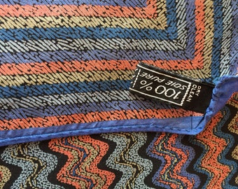 Vintage Missoni brown blue silk scarf made in Italy