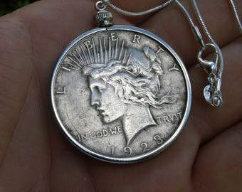 Vintage 1923 authentic circulated silver Peace coin one dollar necklace pendant with chain