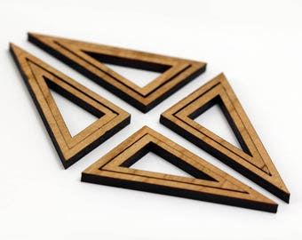 8 Concentric Right Triangle Wood Beads : Cherry Plywood