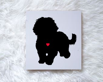 Hand Painted Bichon Frise Dog Silhouette on Painted Grey Wood, Dog Decor Dog Painting, Gift for Dog People, New Puppy, Housewarming