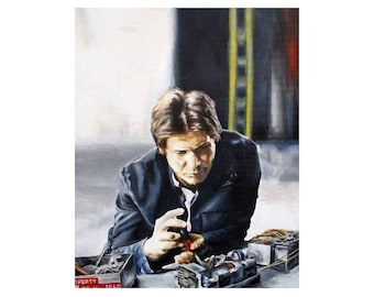 Solo Fixin' - Han Solo / Harrison Ford Fixing Millennium Falcon Star Wars Empire Strikes Back Hoth Art Print (Unframed)