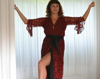 French Lace and Silk Robe Red/Black