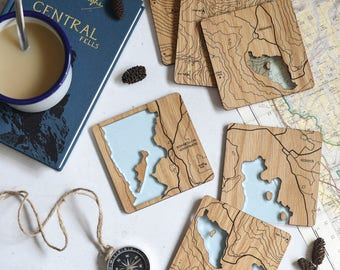 The Lake District Map Coasters: laser etched maps on oak, a gift for walkers, hikers, dads & groomsmen