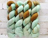 funky cold patina | ryuko sock | hand dyed yarn | dirty mint wine bronze speckles | 85/15 SW Merino Nylon Fingering