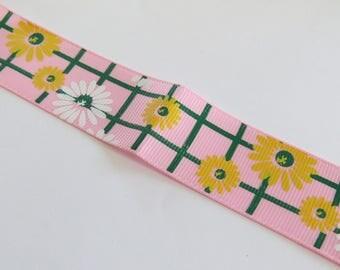 Pretty light pink ribbon and yellow flower pattern