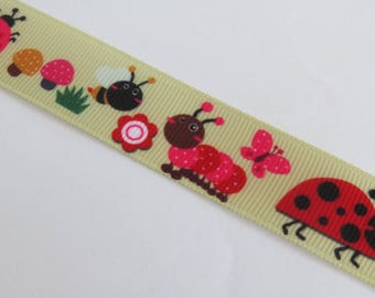 Pretty Ribbon with ladybug, bee and flower pattern
