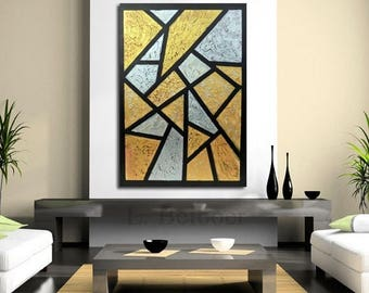 """ON SALE Original large metalic painting cubism  abstract  wall art decor acrylic metallic textured gold silver  home decor 40"""" canvas ready"""