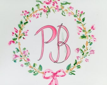 Custom monogram, floral wreath,watercolor