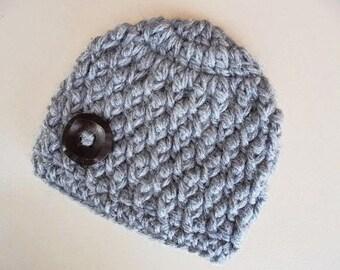 Crochet baby boy hat, gray baby hat, newborn boy beanie, crochet newborn hat, baby boy beanie,  baby boy hat, newborn boy hat