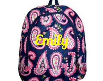 Navy and Pink Paisley Monogrammed Book Bag