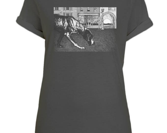 Black Dog Soleil Illustration Womens Organic Cotton Boyfriend Style T-Shirt With Rolled Up Sleeves. Black.