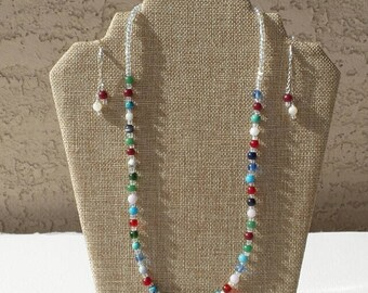 Mixed Beads- Necklace and Earrings Set - One of a Kind