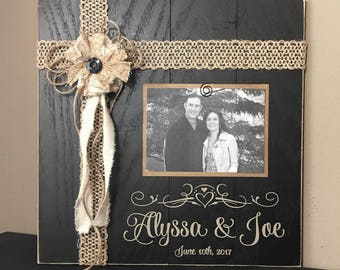 Personalized Name Sign, Custom wood signs, Embellished Primitive Wedding photo gift, wall hanging, picture frame, wall decor, shower gift