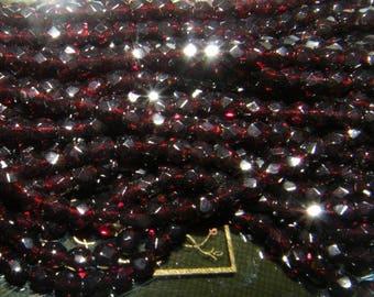 Preciosa® Czech Faceted Round Transparent Deep Garnet 4mm 100pcs Fire Polished Beads