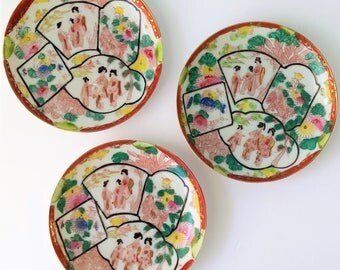 Vintage Asian Plates Set of 3 Decorative Porcelain Geisha Plates Hand Painted Asian Collectibles