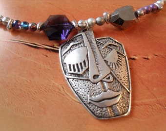 Greek mask abstract necklace cold Eysed beads Metal Silver Purple Theater dance Evening Ethno
