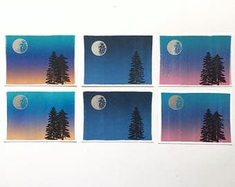 Postcard 6-Pack Moon & Trees Collection