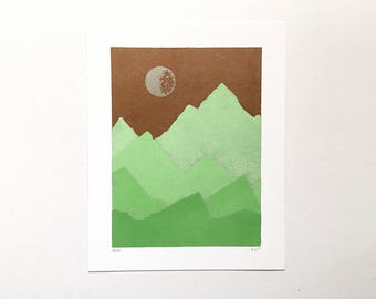8x10 Letterpress Print - Copper Sky Over Spring Green Mountains