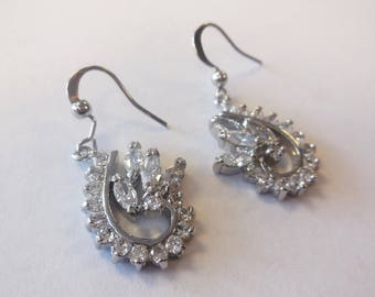 Vintage Earrings Dangle Rhinestones Silver Tone Metal Jewelry Retro Bridal Wedding Special Occasion FormalLady's Fashion Accessories
