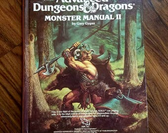 Vintage Advanced Dungeons And Dragons Monster Manual II TSR2016. Roleplay guide Official TSR D & D