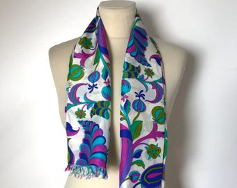 FRENCH 60s SCARF / Vintage scarf / Mid century / 50s / 60s / Fashion / Retro scarf / Floral / Accessoire / French vintage scarf / Green blue