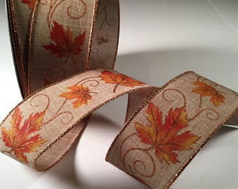 "Fall Leaves Ribbon, Wired Ribbon for Fall, 5 yds of 2 1/2"" Wired Craft Ribbon, Wreath Ribbon, Ribbon for Bows, Fall Decor Ribbon"