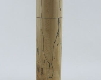 Spices and peppermill grinder in spalted Maple , Cylinder  style with rod mechanisme  9 in X 2 1/4 D. item no: 942