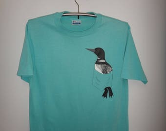 Vintage 50/50 Bird In Pocket T Shirt Unique Funny 1988 Tshirt Pop Art