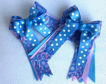 Bowdangles Horse Show Hair Bows, Blue Paisley,Equestrian clothing/Ready2Mail