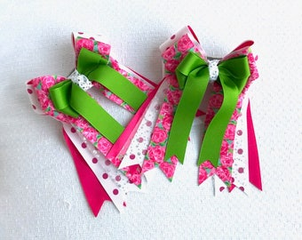 Horse Show Hair Bows/Lilly Inspired Equestrian clothing/glitter/Ready2Mail
