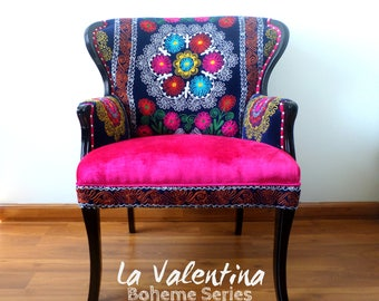 "Stunning Arm Chair LA VALENTINA Vintage chair wing back. Blue Pink.From our succesful ""La Bohemia"" Series - Suzani Chair - Mandalas - Velvet"