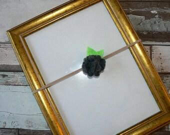 Headband flower in Slate Grey felt 0/3 months