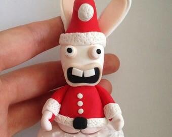 Bunny ass Santa Claus figurine polymer clay