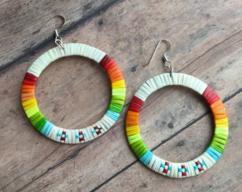 Quillwork: Large hoop earrings
