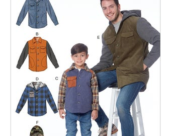 McCall's Sewing Pattern M7638 Men's and Boys' Lined Button-Front Jackets with Hood Options