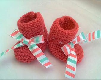 coral pink wool baby shoes