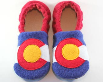 Colorado Kids- Colorado Gifts- Kids Easter Gift- Colorado Flag- Classroom Shoes- Waldorf- Kids Slippers- Eco Friendly- Get Well Gift