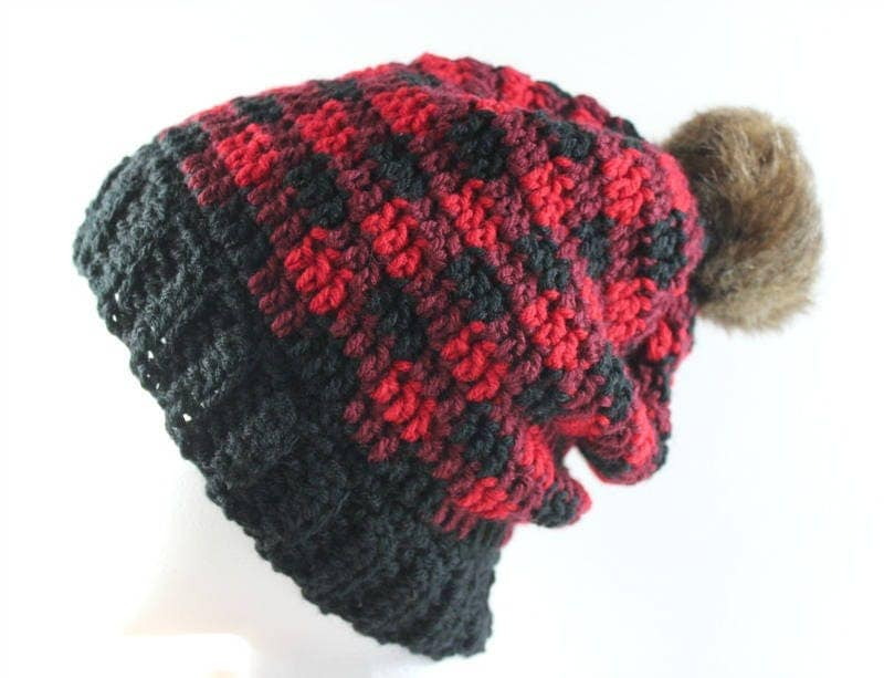lumberjack hat fur pom pom hat red and black plaid. Black Bedroom Furniture Sets. Home Design Ideas