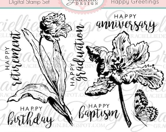 Happy Greetings Digital Stamps