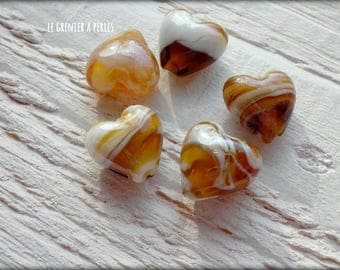 HEART glass beads x 5 TOPAZ
