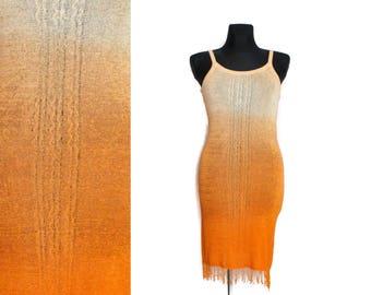 Bohemian dress, Mini dress, Fringe dress, Ombre dress, Orange dres, Vintage dress, Festival dress, Beach dress, See threw dress / Medium